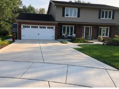 Completed Concrete Driveway, Sidewalk, and Apron