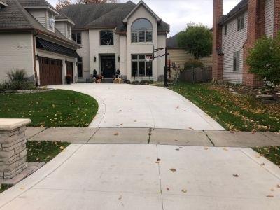 Long Concrete Driveway and Apron